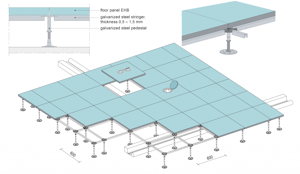 II bearing structure system – pedestals connected with steel crossbars – stringers